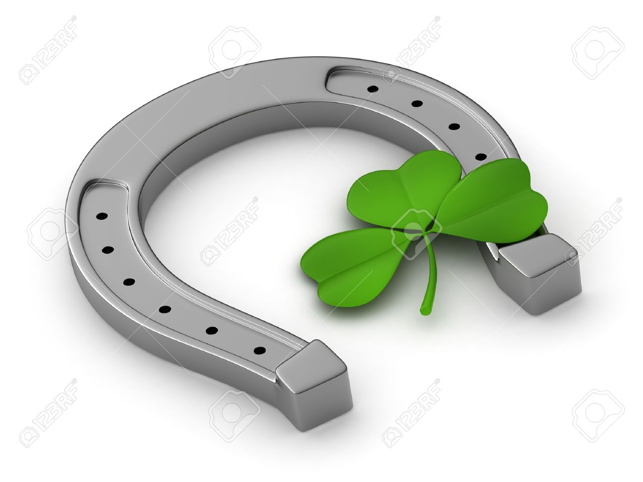 3D Illustration of a Clover and a Horseshoe Stock Photo - 12214951