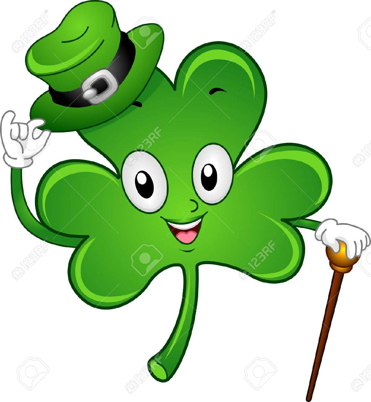 illustration of a gentlemanly shamrock mascot stock photo picture