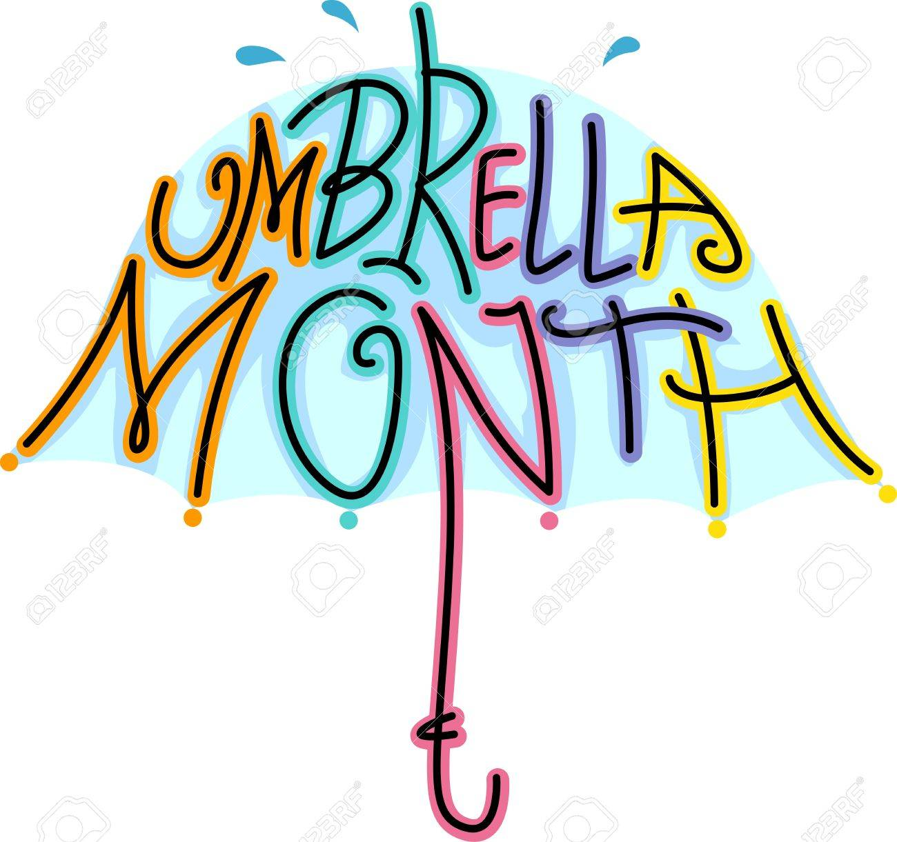 Text Illustration Celebrating Umbrella Month Stock Illustration - 12325663