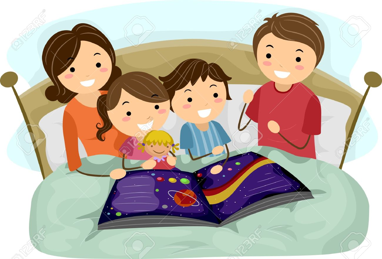 Illustration Of Kids Listening To A Bedtime Story Stock Photo ...