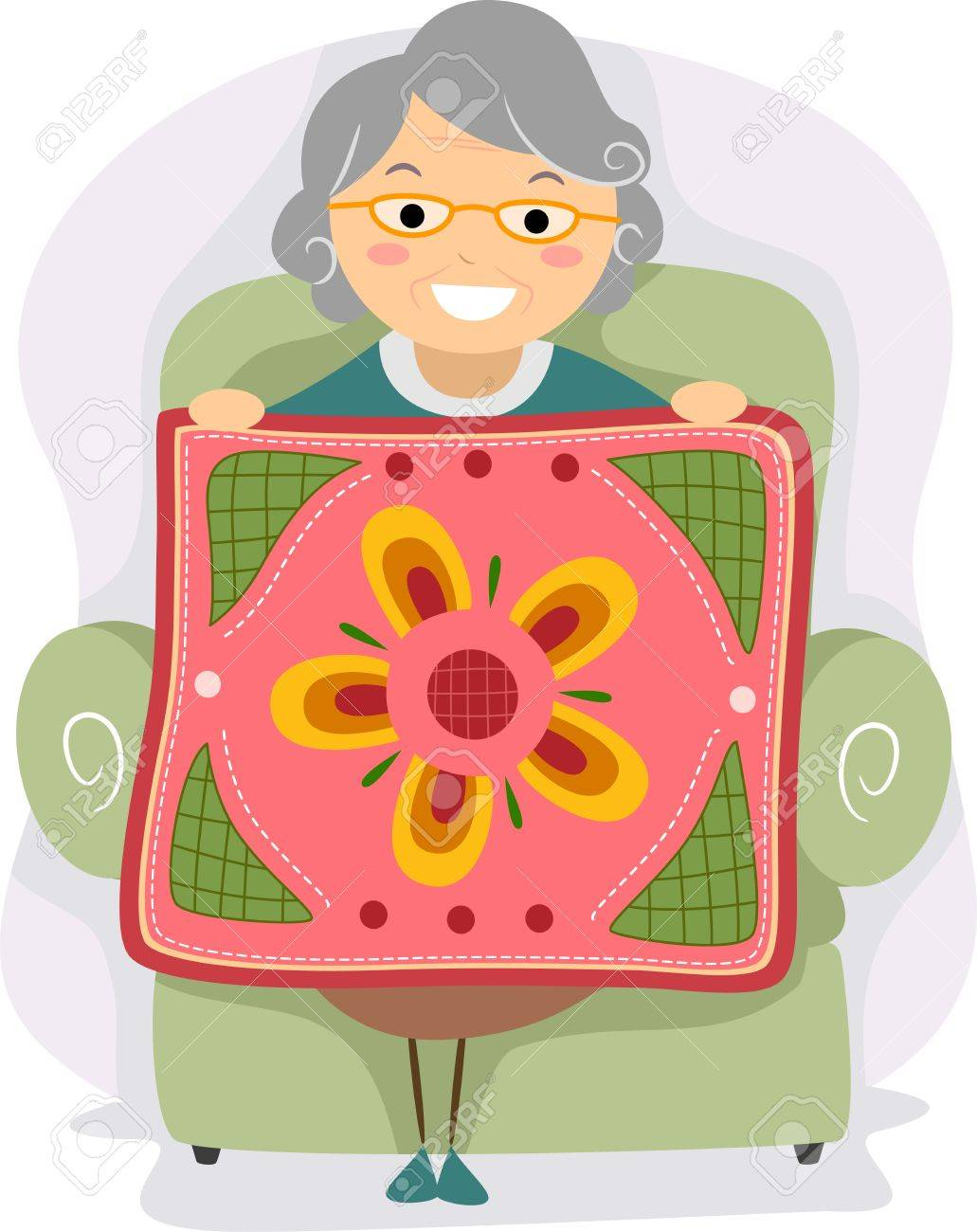 Illustration Of A Grandmother Proudly Holding A Quilt Stock Photo Picture And Royalty Free Image Image 12325627