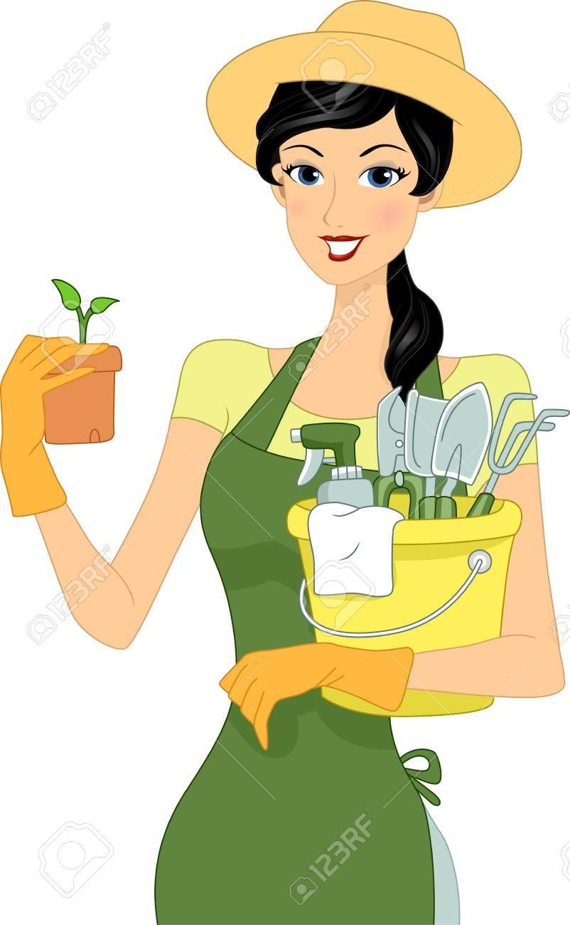 c315fa940cb4 Foto de archivo - Ilustración de una chica que lleva materiales de  jardinería