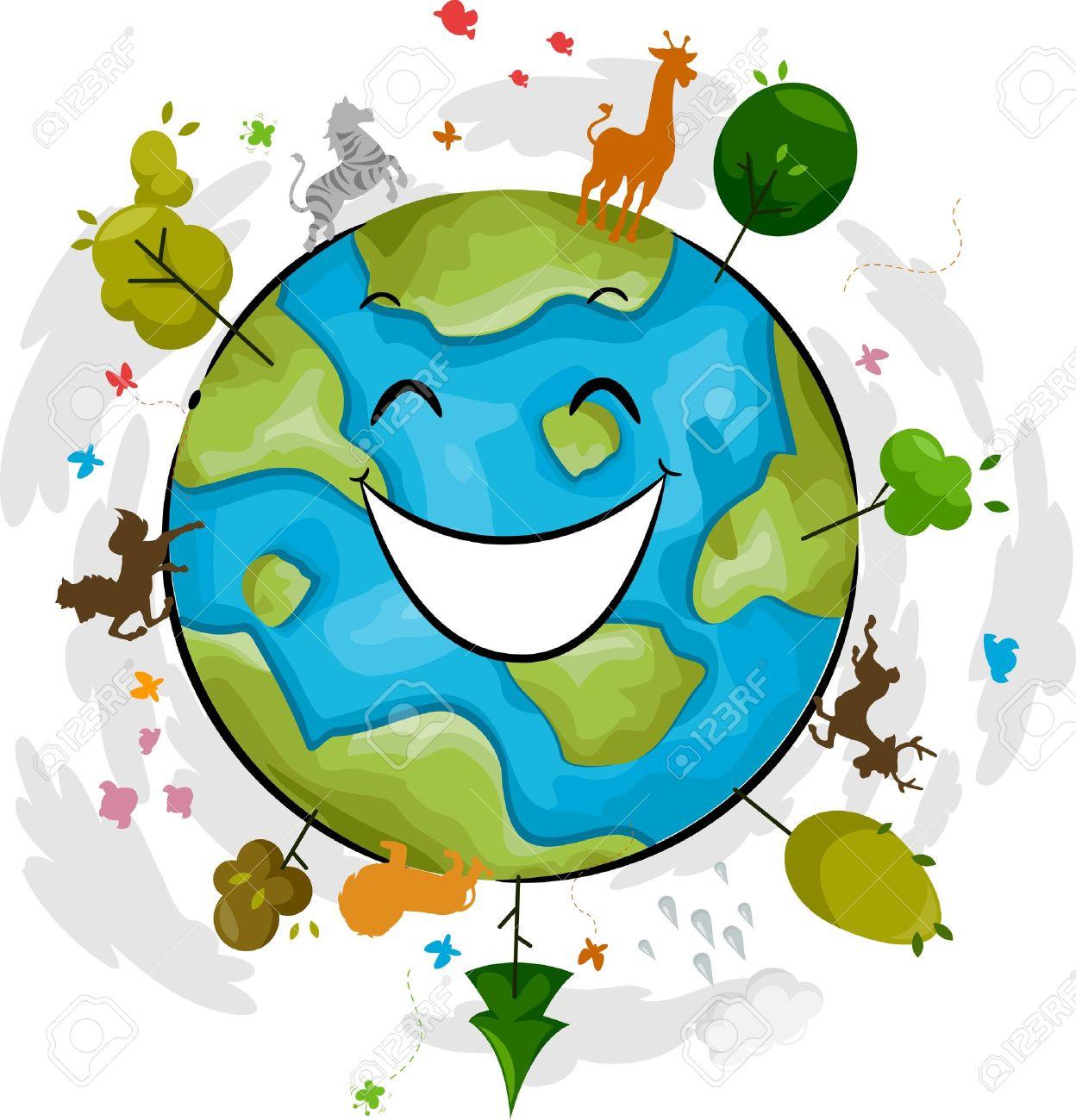 Illustration of a Happy Earth Mascot Stock Photo - 12575442