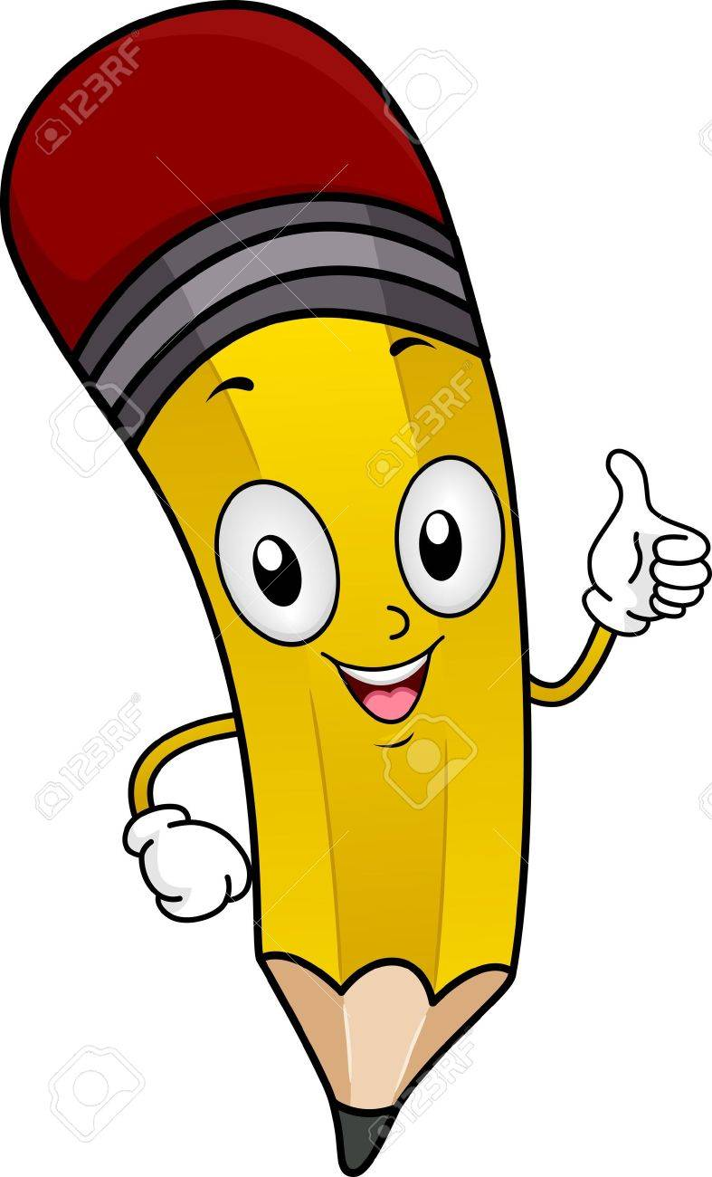 Illustration of a Pencil Mascot Giving a Thumbs Up Stock Illustration - 12575326