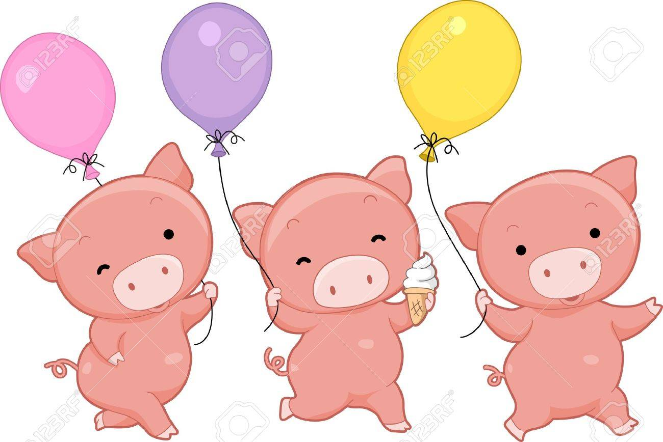 illustration of pigs holding balloons stock photo picture and