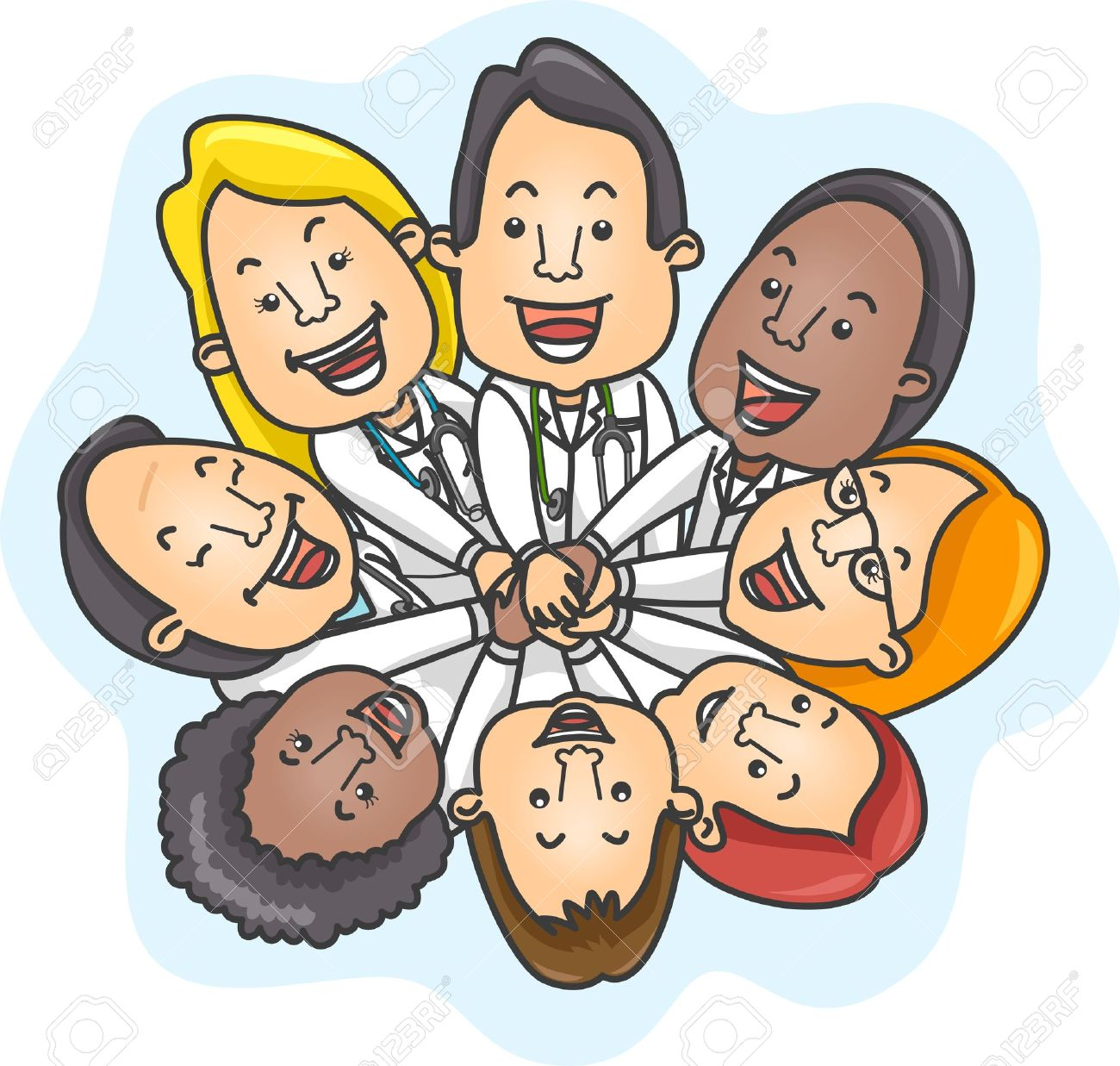 Illustration of a Team of Doctors Demonstrating Unity Stock Photo - 12575469
