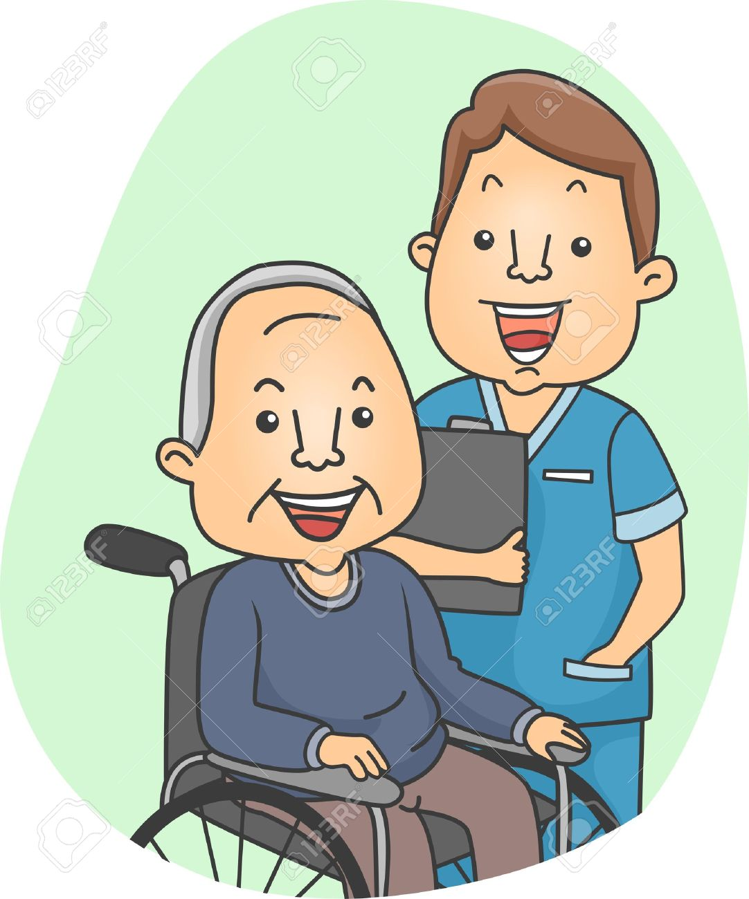 Illustration of a Nurse and His Elderly Patient Stock Illustration - 12575457