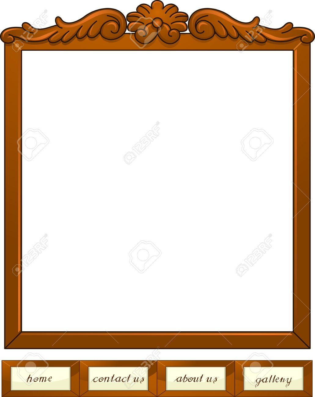 Illustration Of Web Buttons With A Wooden Frame Design Stock Photo