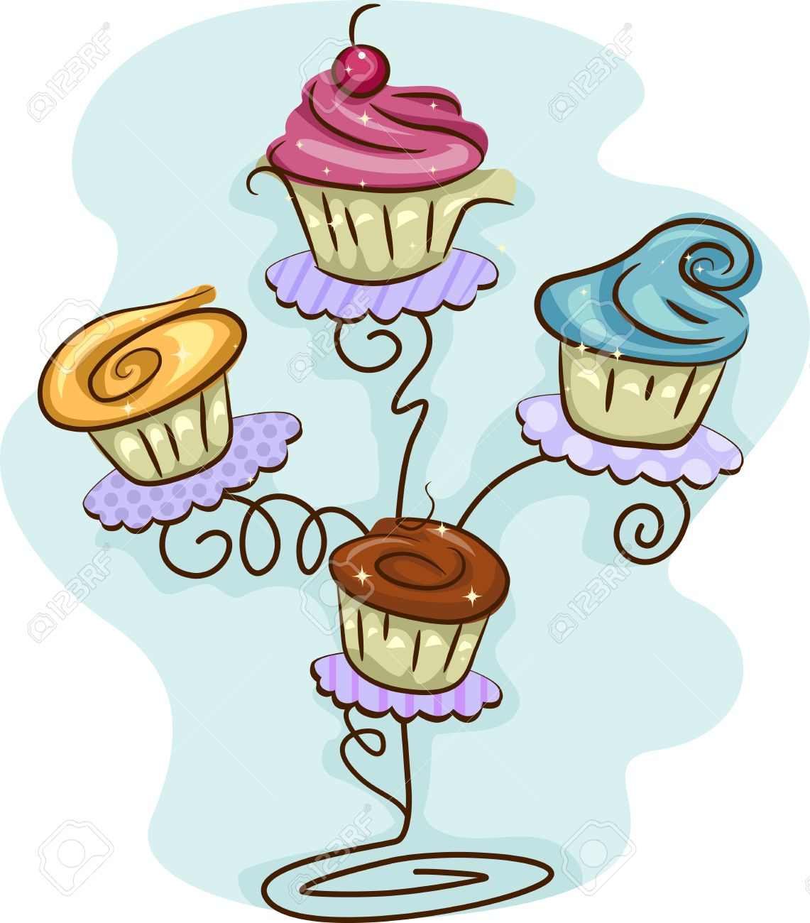 Illustration Of A Cupcake Stand Filled With Cupcakes Stock Photo