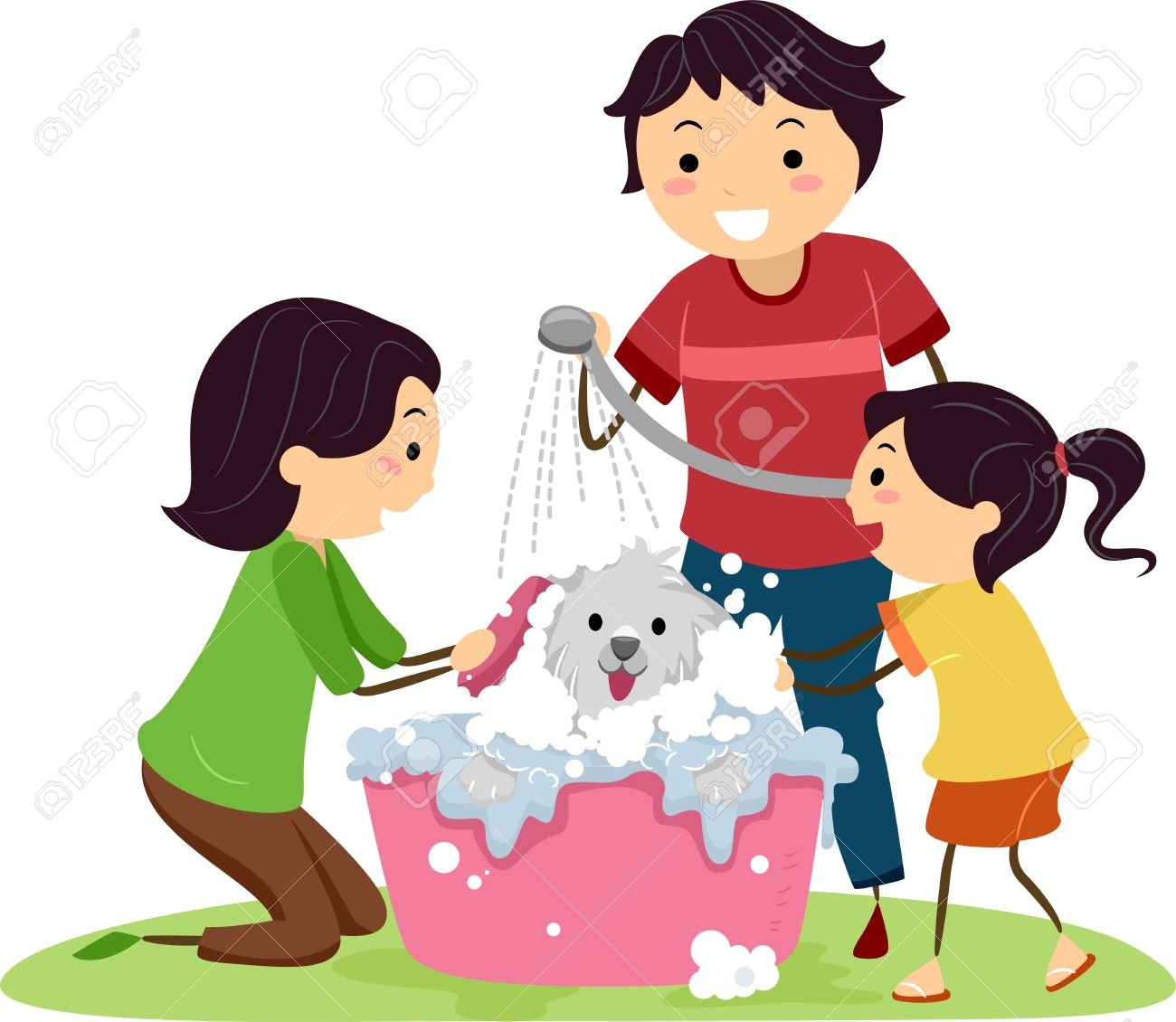 Illustration of a Family Giving Their Dog a Bath Stock Illustration - 13131960