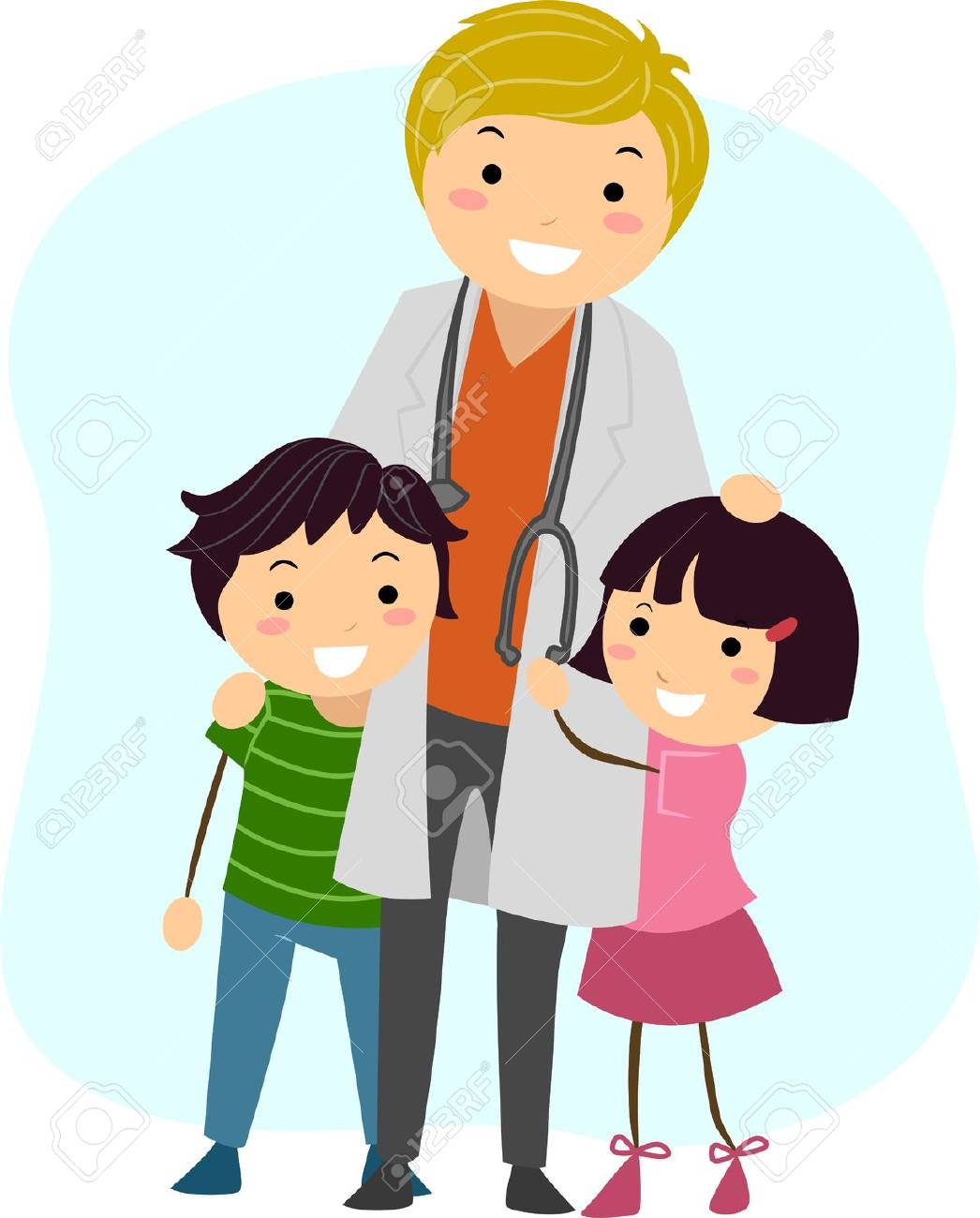 illustration of children clinging on to a pediatrician stock photo rh 123rf com pediatrics clip art