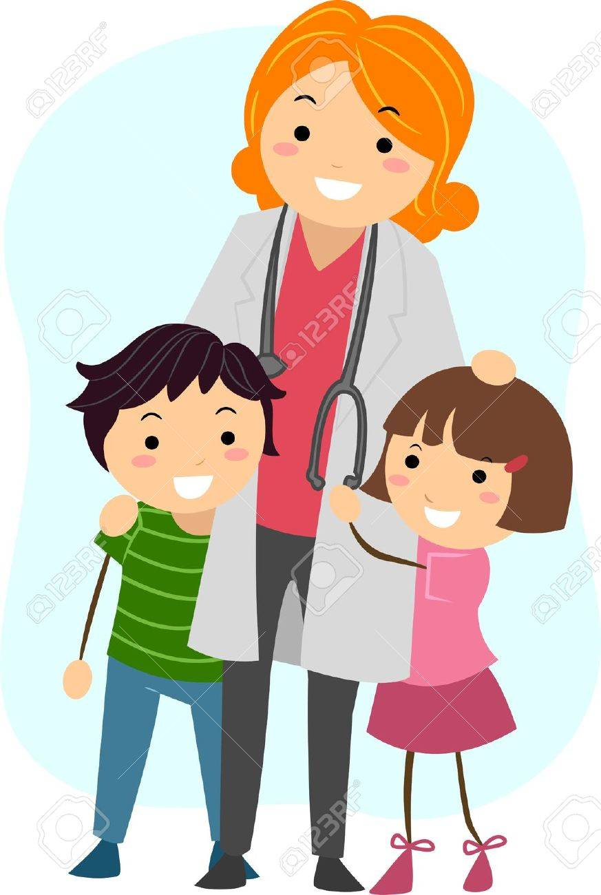 illustration of children clinging on to a pediatrician stock photo rh 123rf com woman pediatrician clipart pediatrician symbol clipart