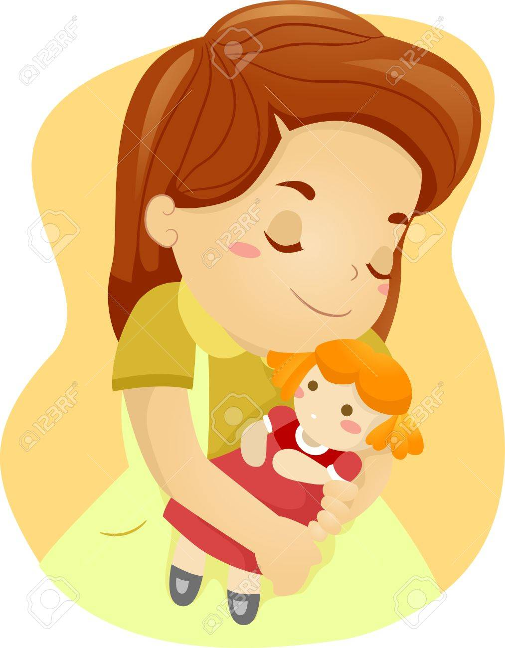 Illustration Of A Kid Hugging Her Doll Stock Photo, Picture And ...