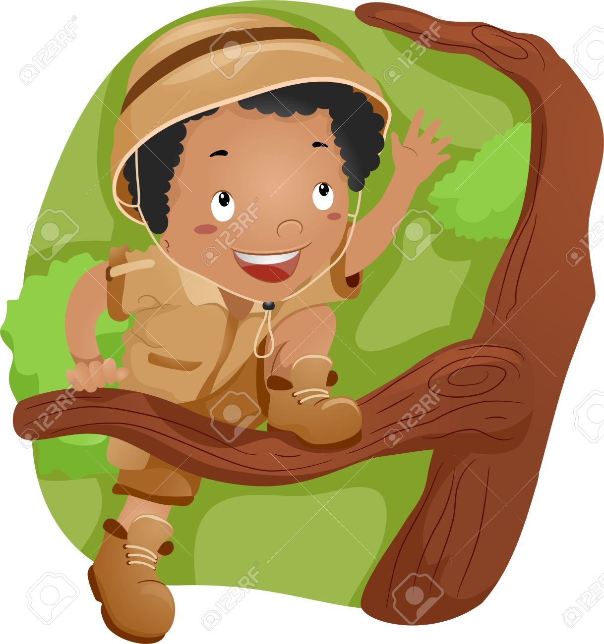 Kid Climbing Tree Tree Climbing Illustration