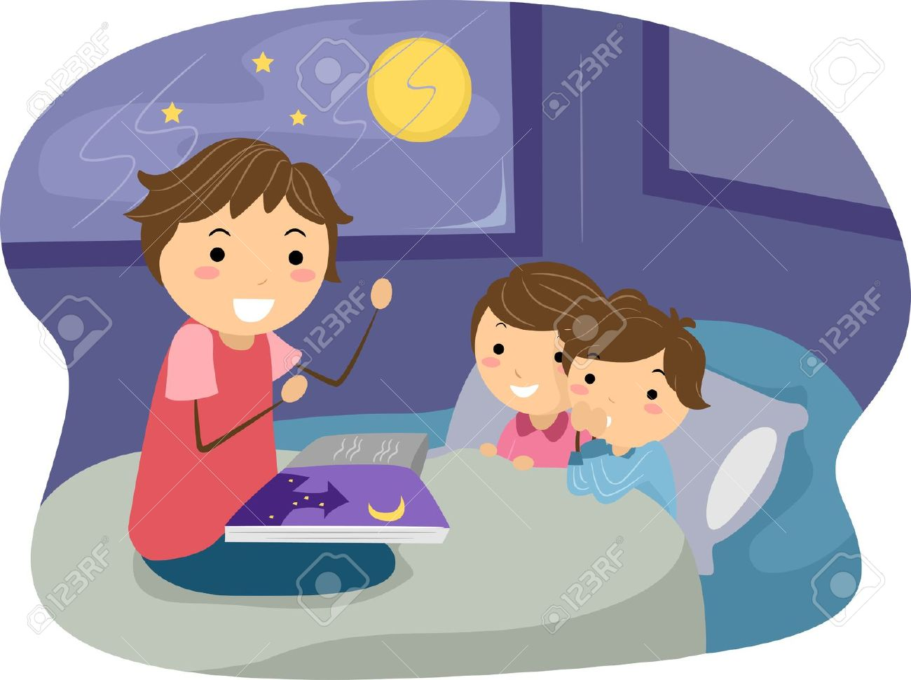 sleep cartoon illustration of kids listening to a bedtime story - Cartoon Picture For Kids
