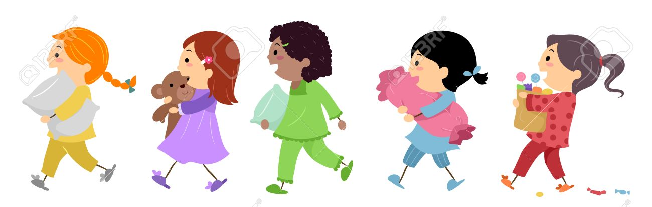 Illustration of Kids Going to a Slumber Party Stock Illustration - 13340411
