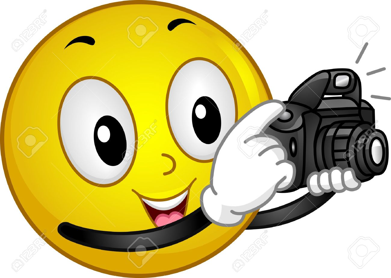 Illustration Of A Smiley Taking A Photo Stock Photo, Picture And ...