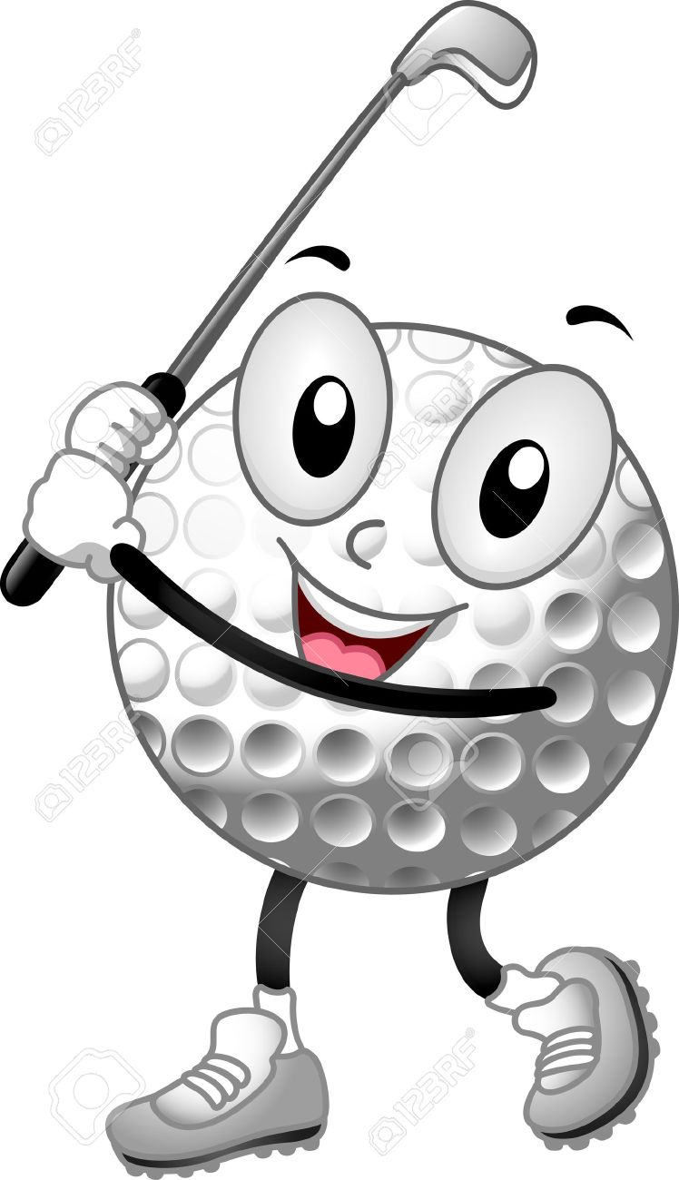 Mascot Illustration Of A Golf Ball Holding Club Stock Photo