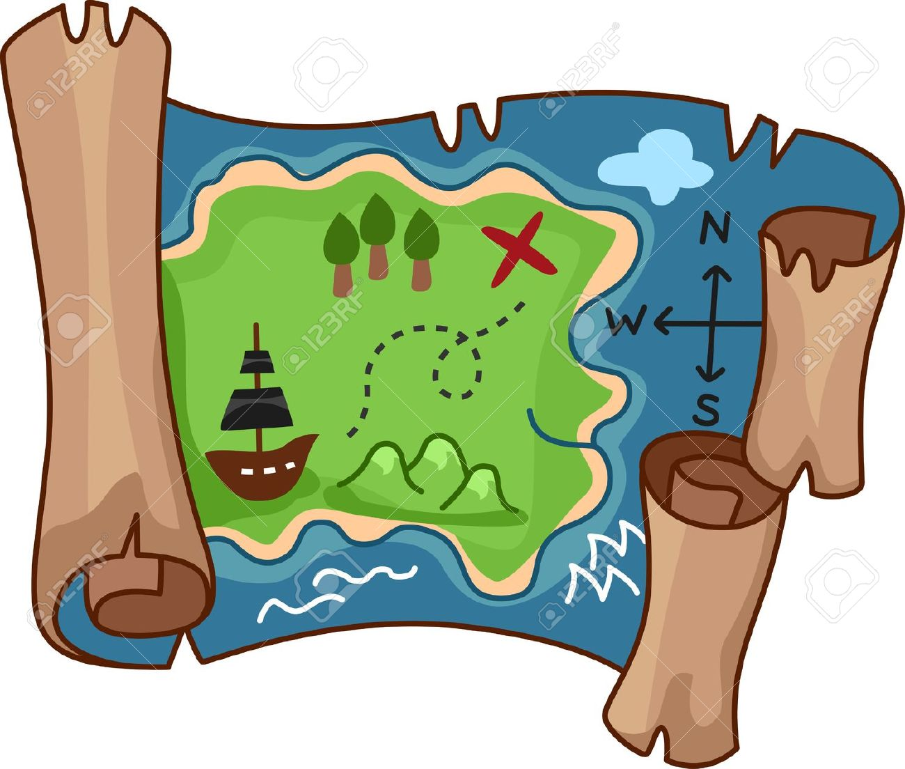 illustration of a treasure map stock photo picture and royalty free rh 123rf com treasure map clipart vector treasure map clipart black and white