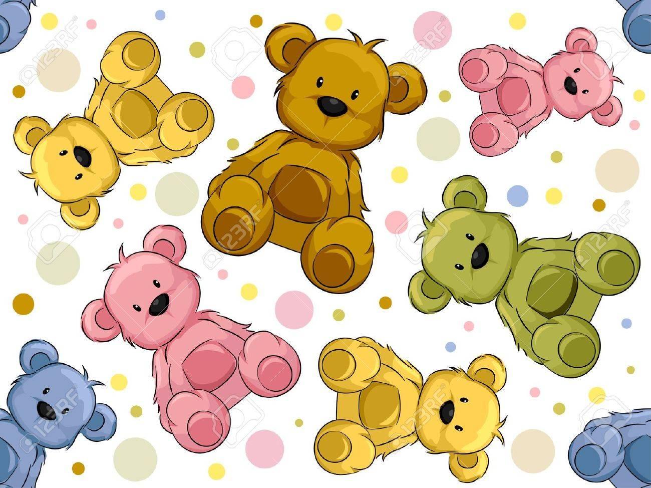 Seamless Illustration Featuring Teddy Bears Stock Illustration - 13559557