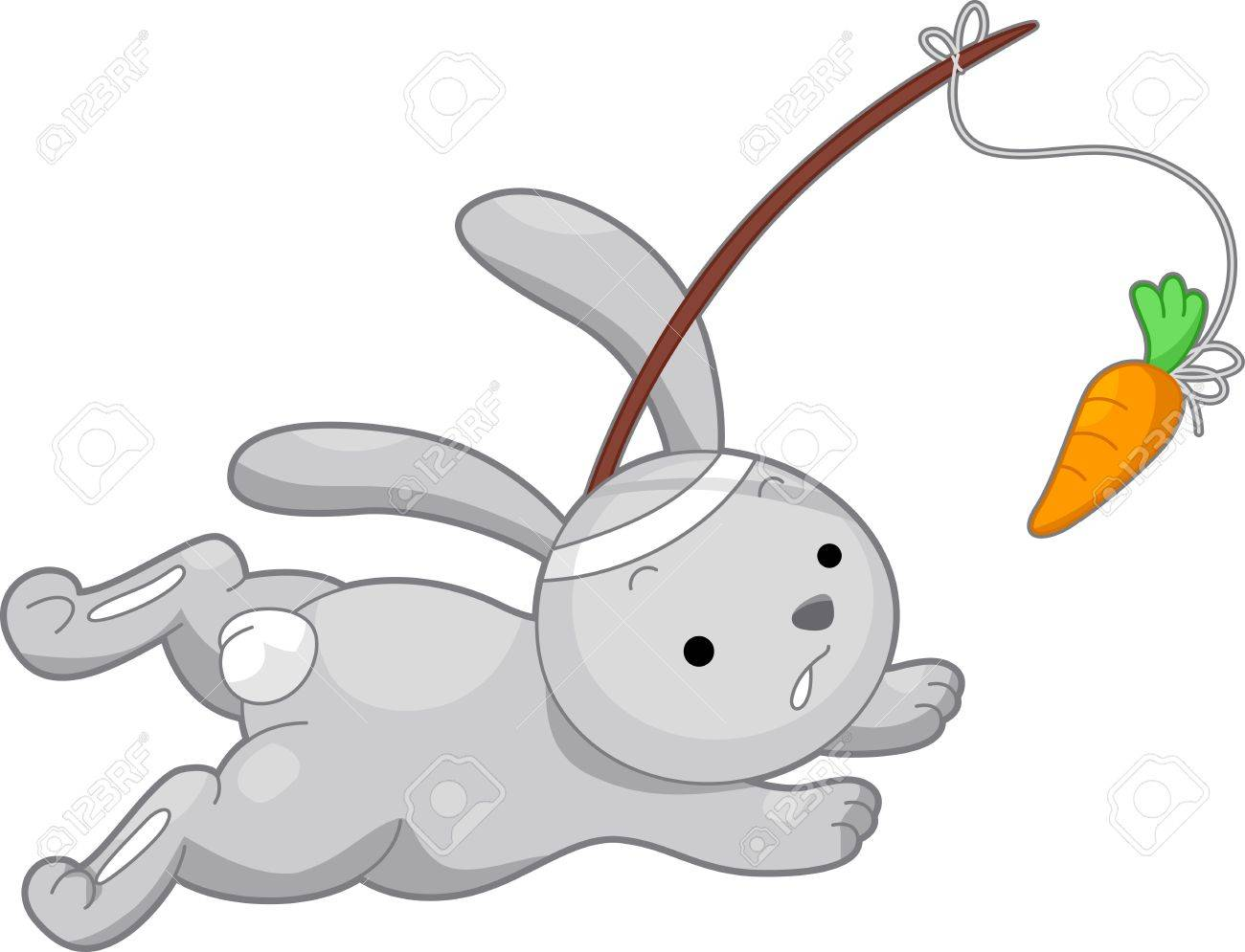 Illustration Of A Rabbit Running After A Carrot Stock Photo ...