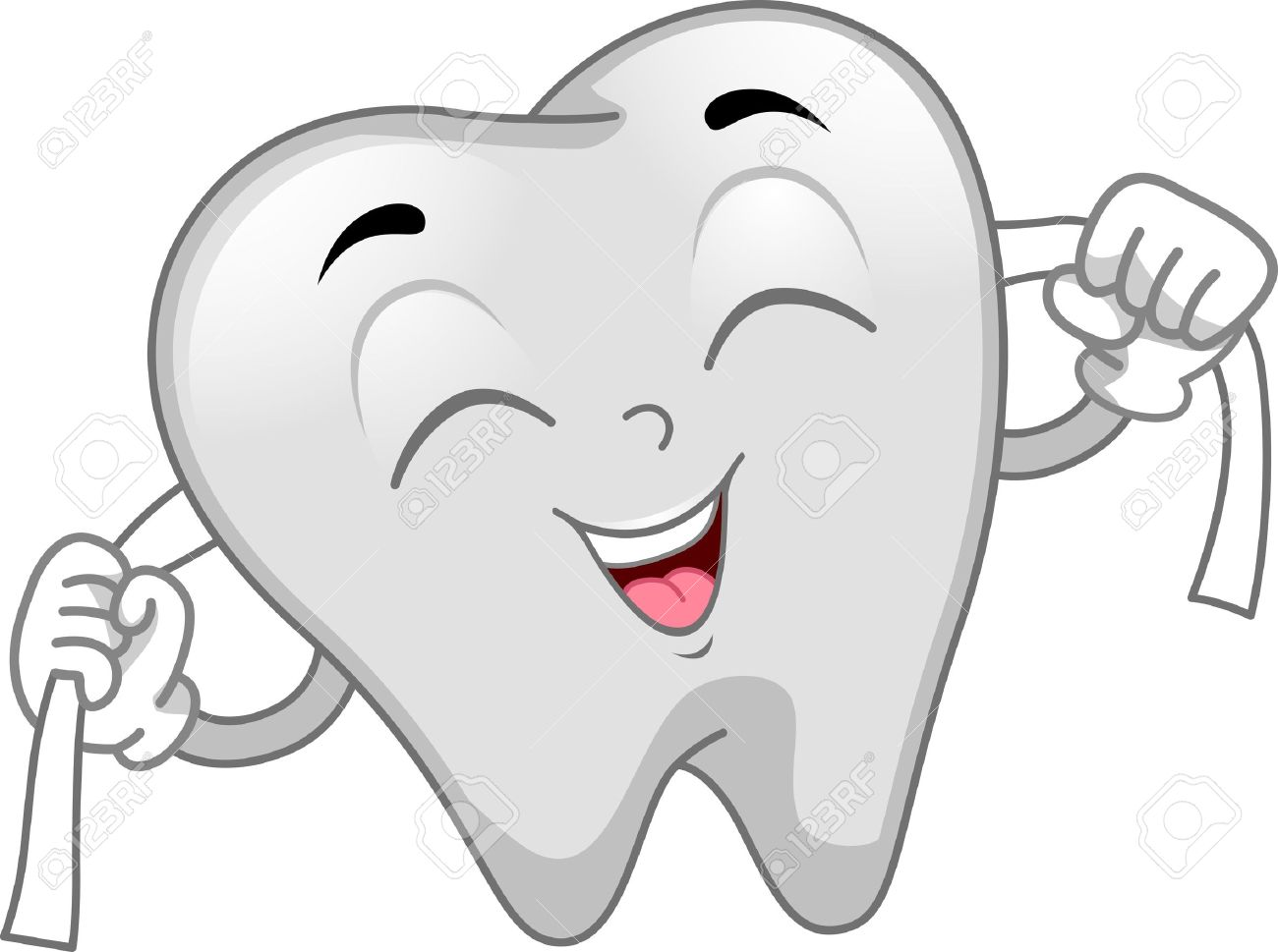 Mascot Illustration Featuring A Tooth Flossing Stock