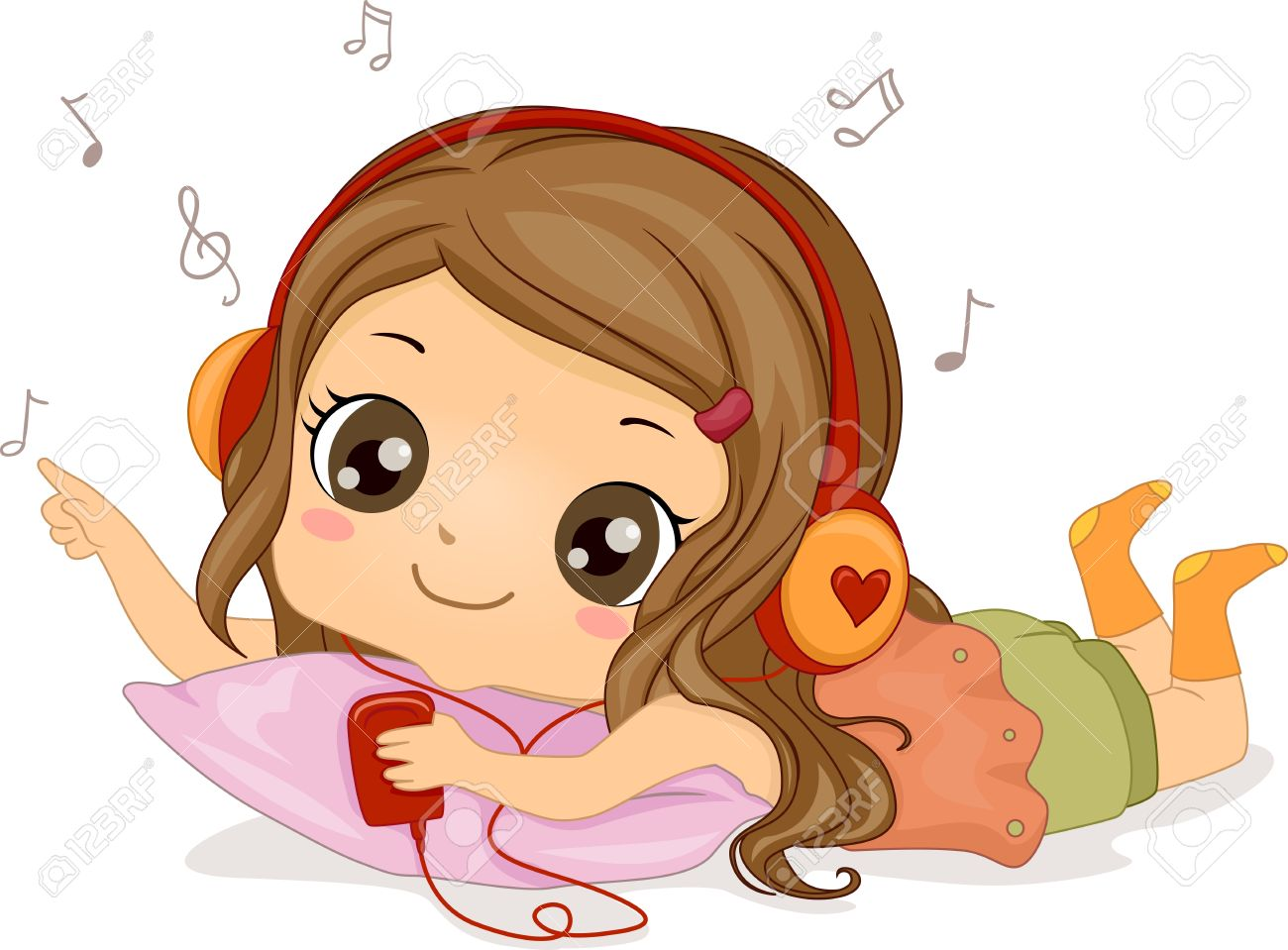 illustration featuring a girl listening to music stock photo