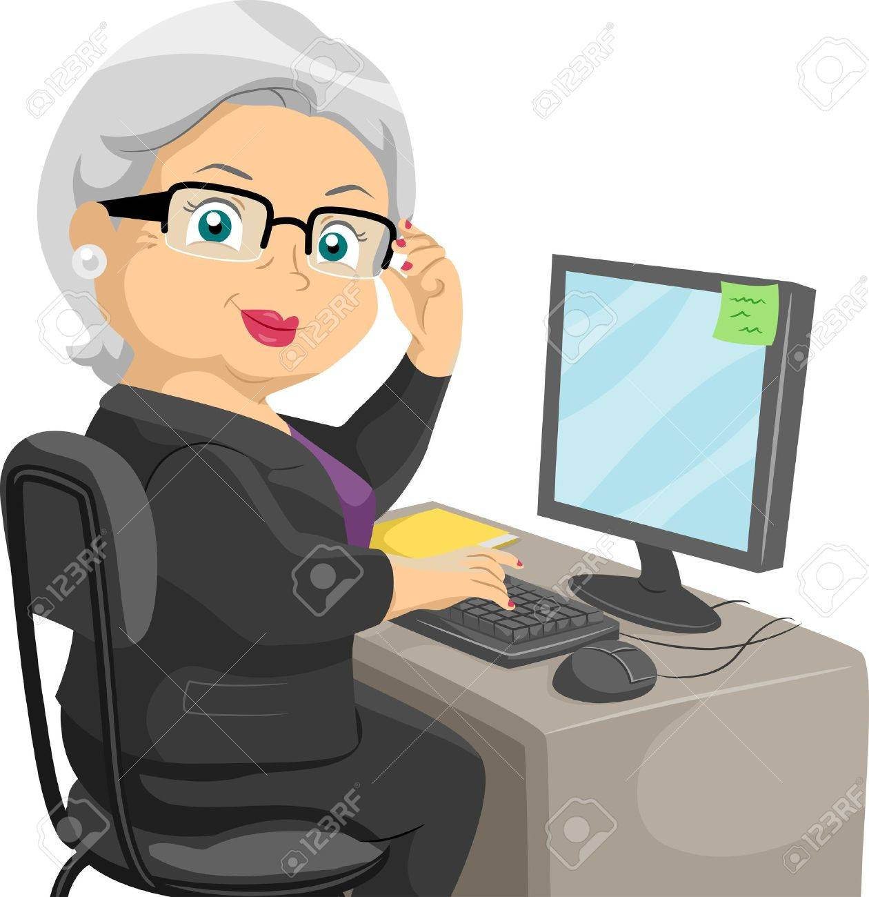 Illustration Featuring an Elderly Woman Using a Computer Stock Illustration - 14493512