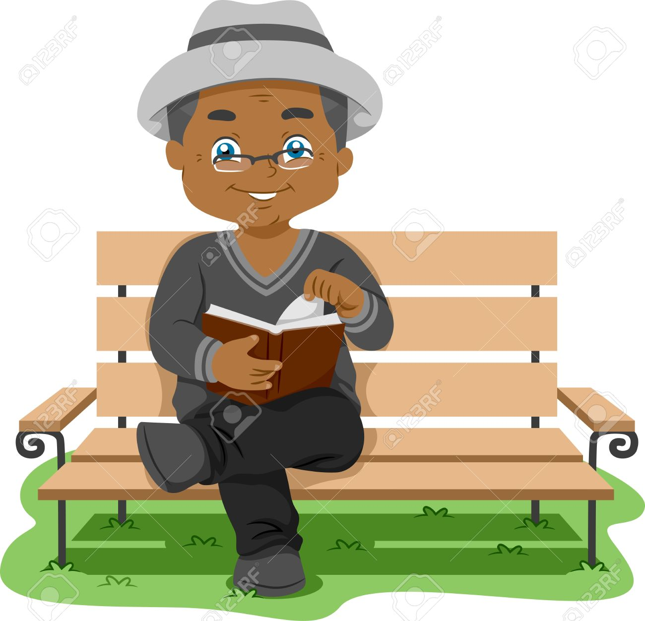 Illustration Featuring an Elderly Man Reading a Book Stock Photo - 14493485