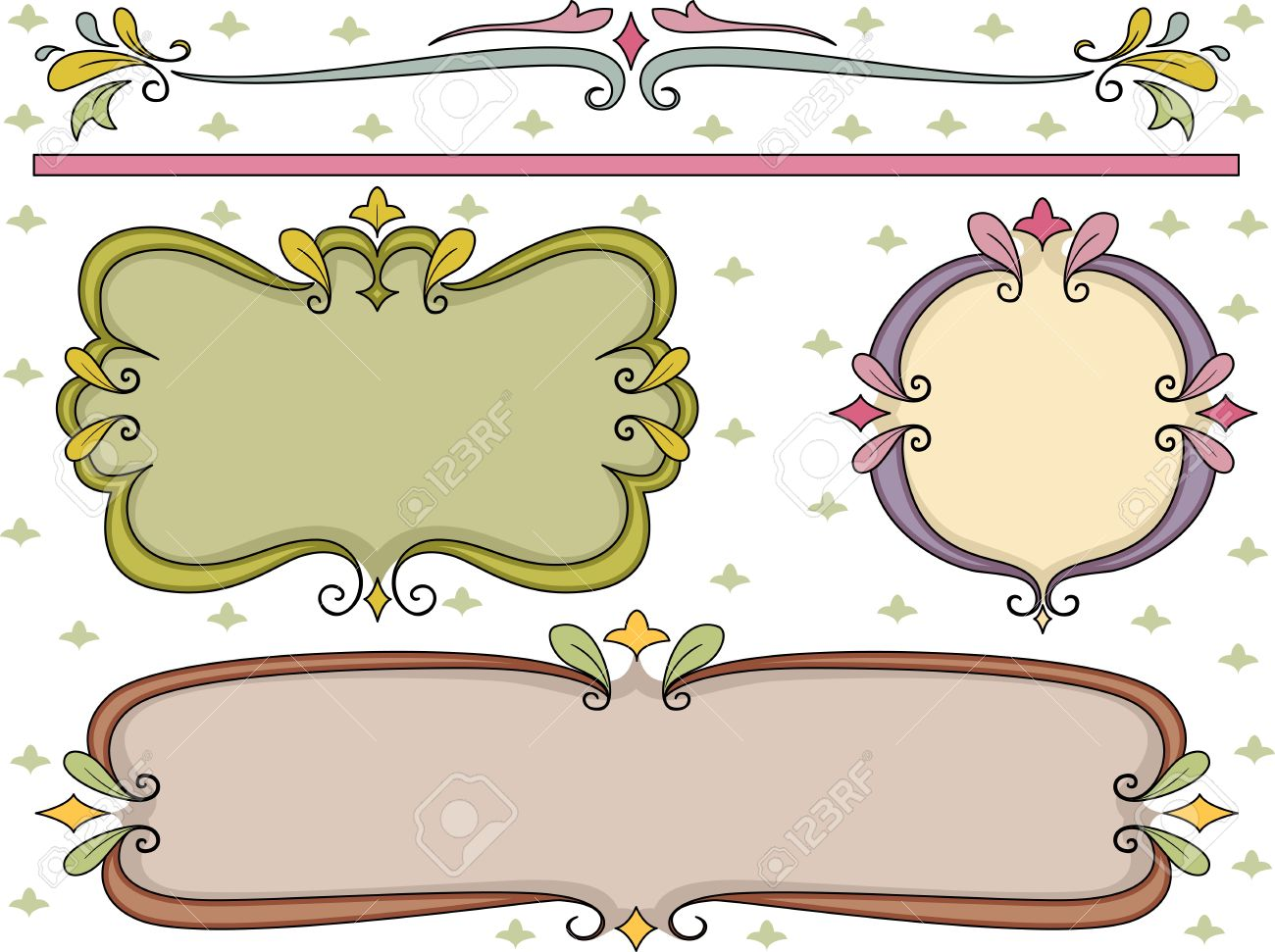 border illustration featuring swirly frames stock illustration 14797056