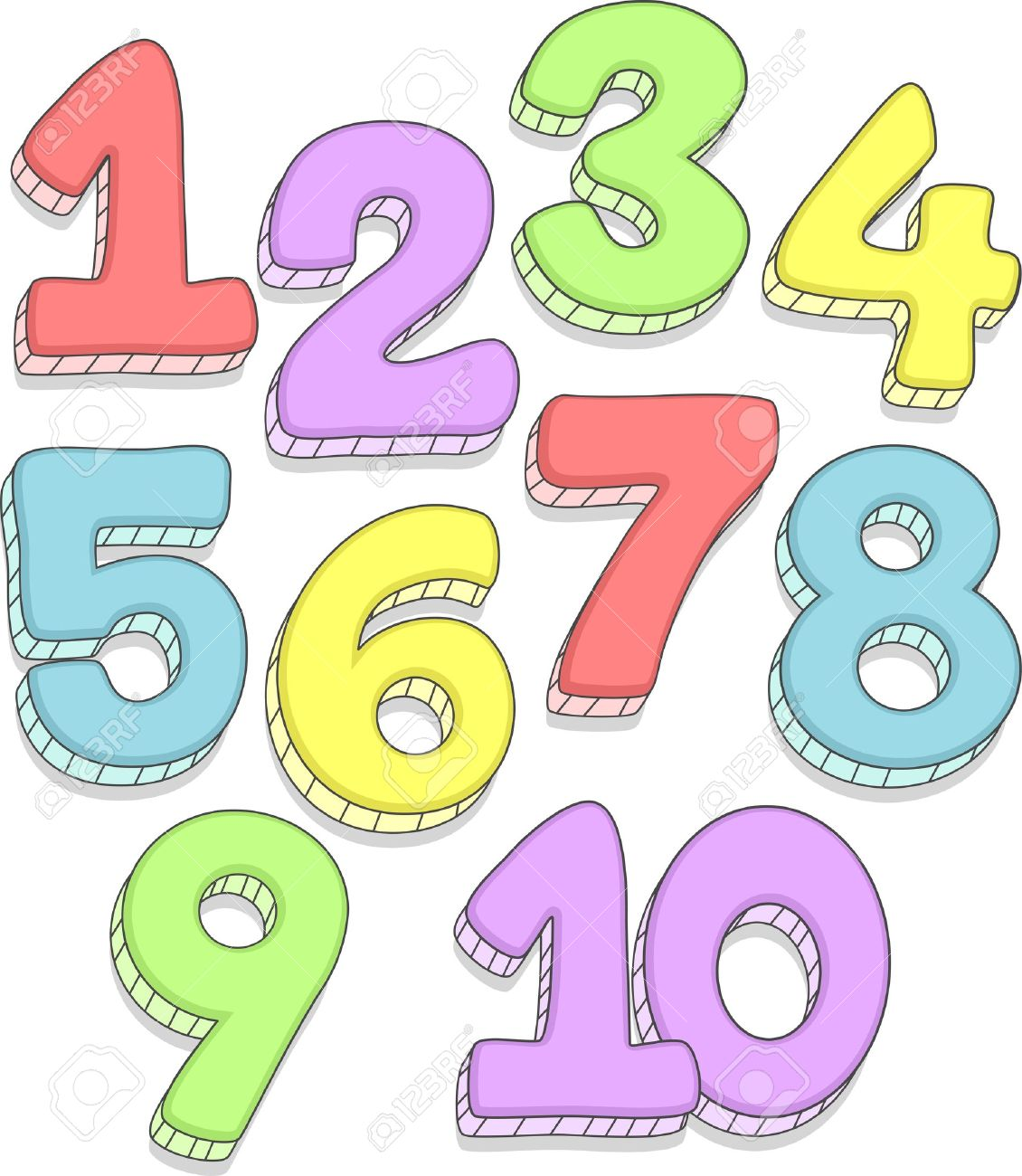 doodle illustration featuring the numbers 1 10 stock photo picture rh 123rf com number clipart 1-10 number clipart black and white