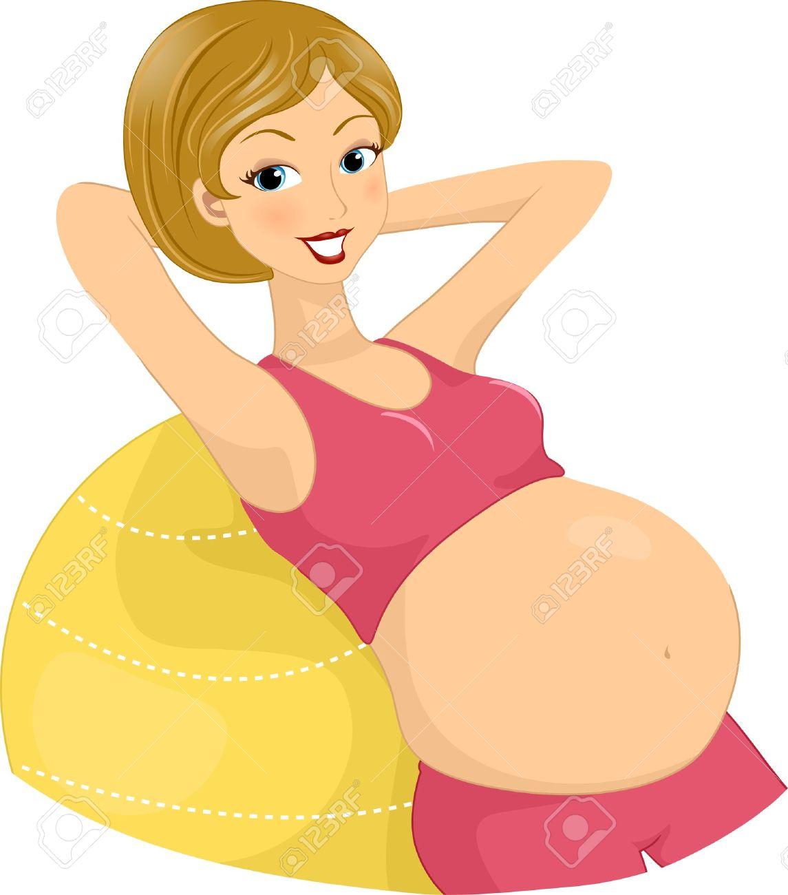 Foto de archivo - Ilustración de una mujer embarazada Ejercicio Utilizando una  bola de aerobic ec324631c8ab
