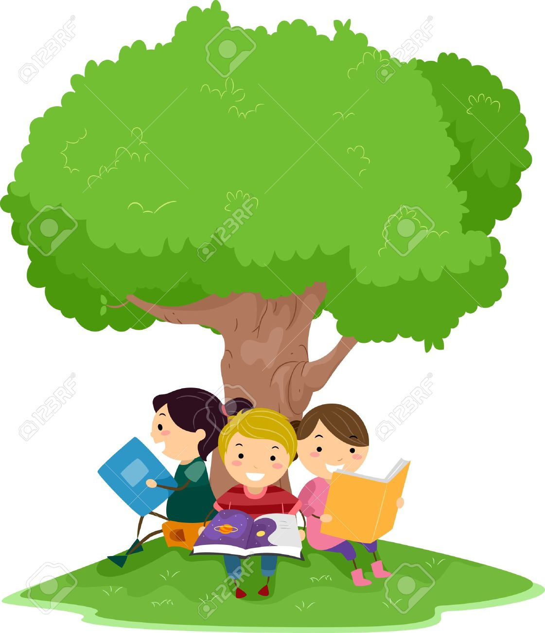 illustration of kids reading under a tree stock photo picture and