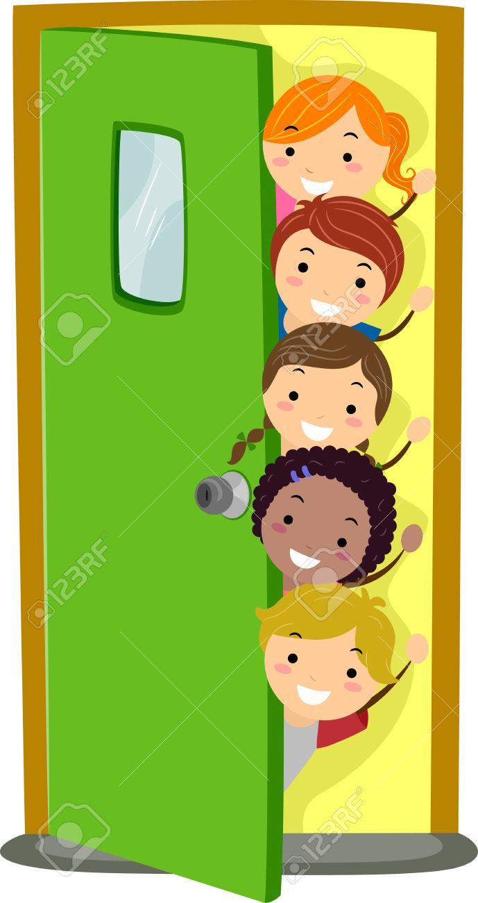 Great Illusstration Of Kids Peeking From Behind A Door Stock Photo   15122027