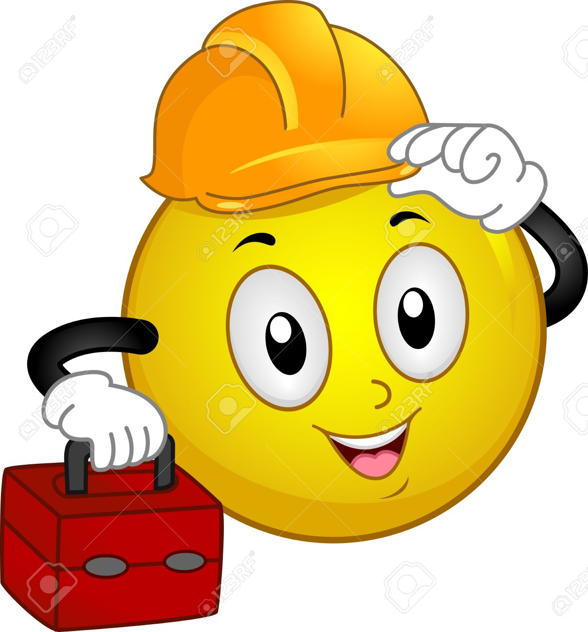 Illustration of a Smiley Wearing a Hard Hat and Carrying a Tool Kit Stock Photo - 15122098