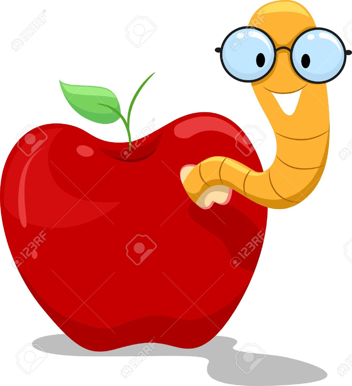 Illustration of a Nerdy Worm Crawling Out of an Apple - 15590891