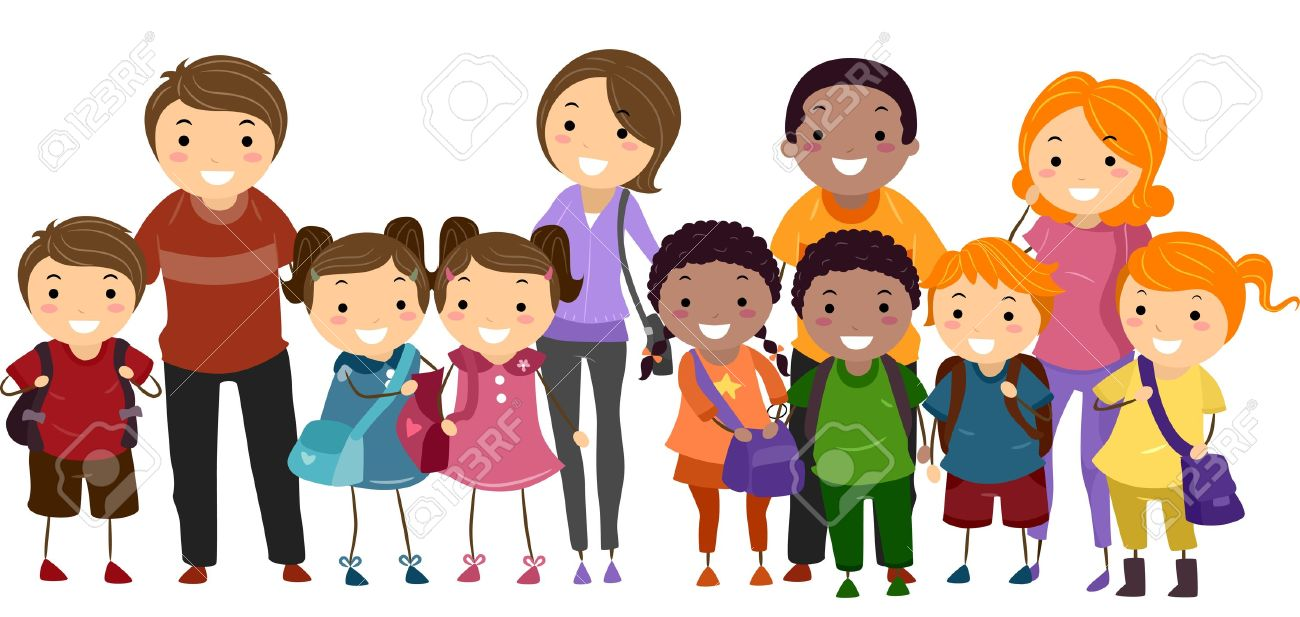 Illustration of School Kids Neatly Lined Up in One Row Together with Their Parents Stock Illustration - 15590831