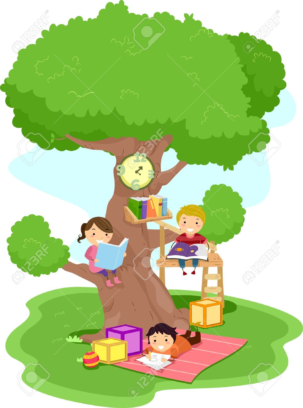 illustration of kids reading in a treehouse stock photo picture