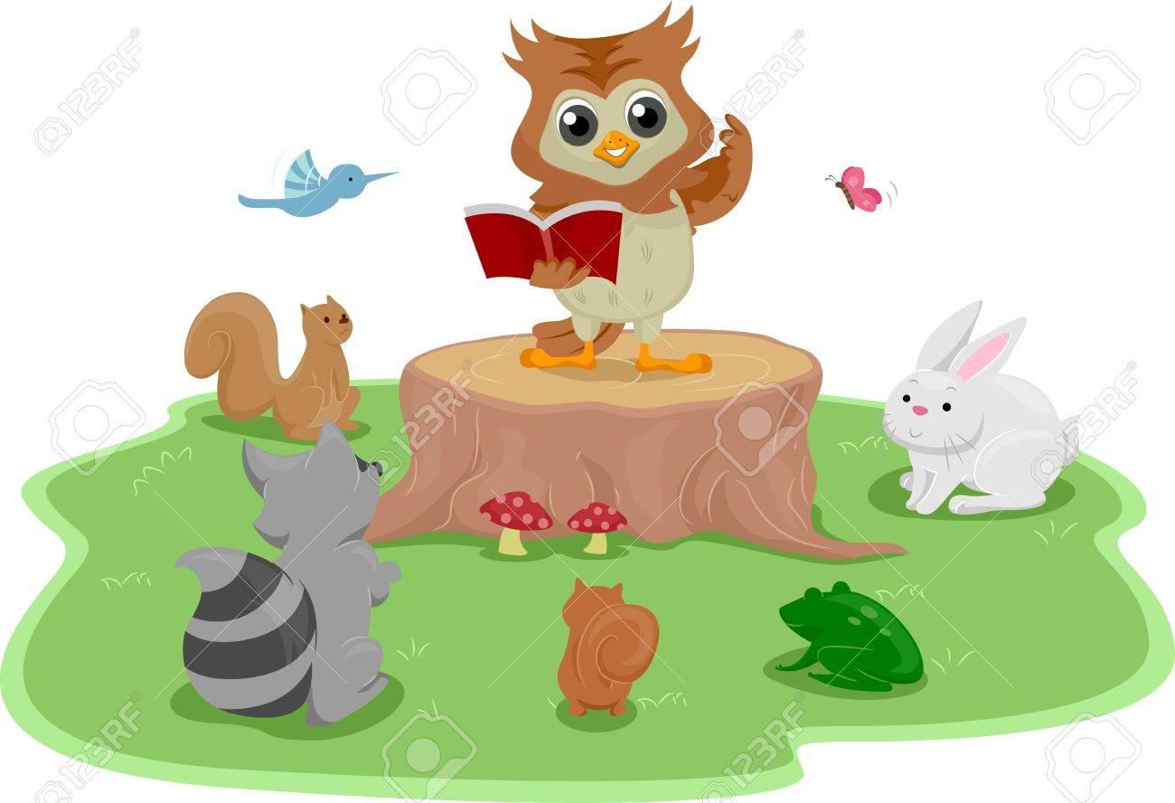 動物に、本を読みながら、木の切り株の上に立って、フクロウのイラスト