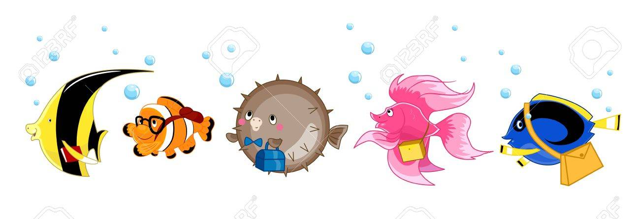 Illustration of a Yellow Butterfly Fish, Clownfish, Pufferfish, Siamese Fighting Fish, and Blue Tang on Their Way to School Stock Photo - 15590882