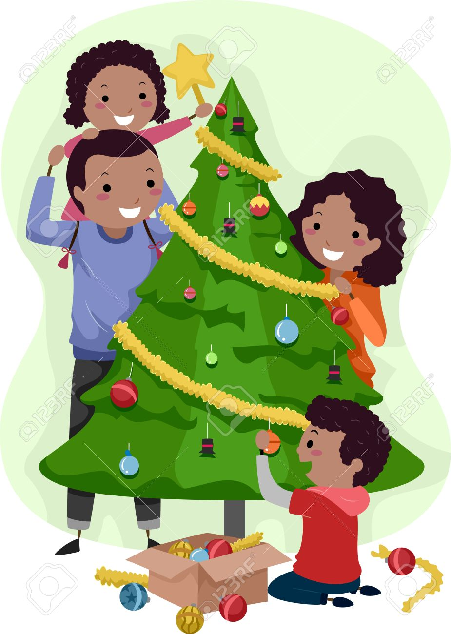 illustration of a family decorating a christmas tree together