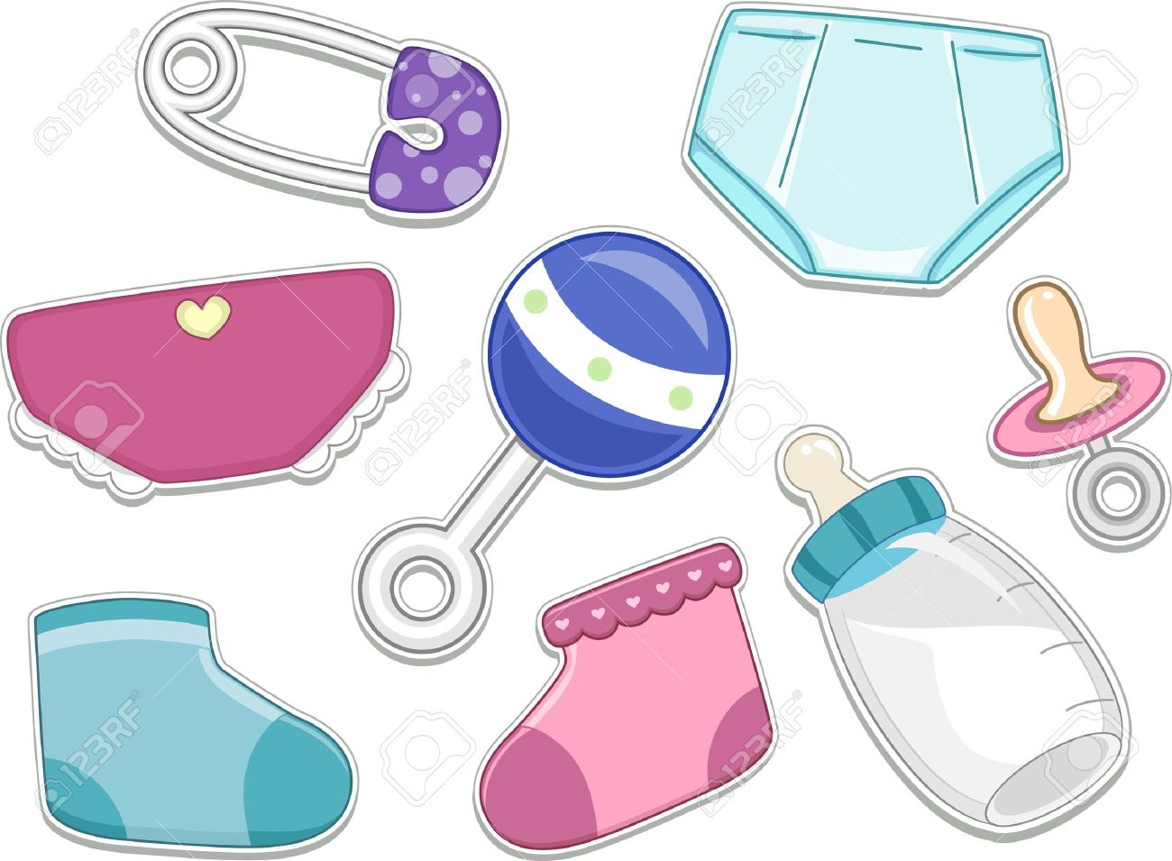 Illustrations Of Baby Products That Can Be Printed Out As Stickers ...