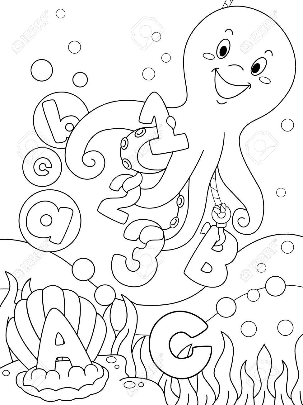 Illustration Featuring An Underwater Coloring Page That Can Be ...