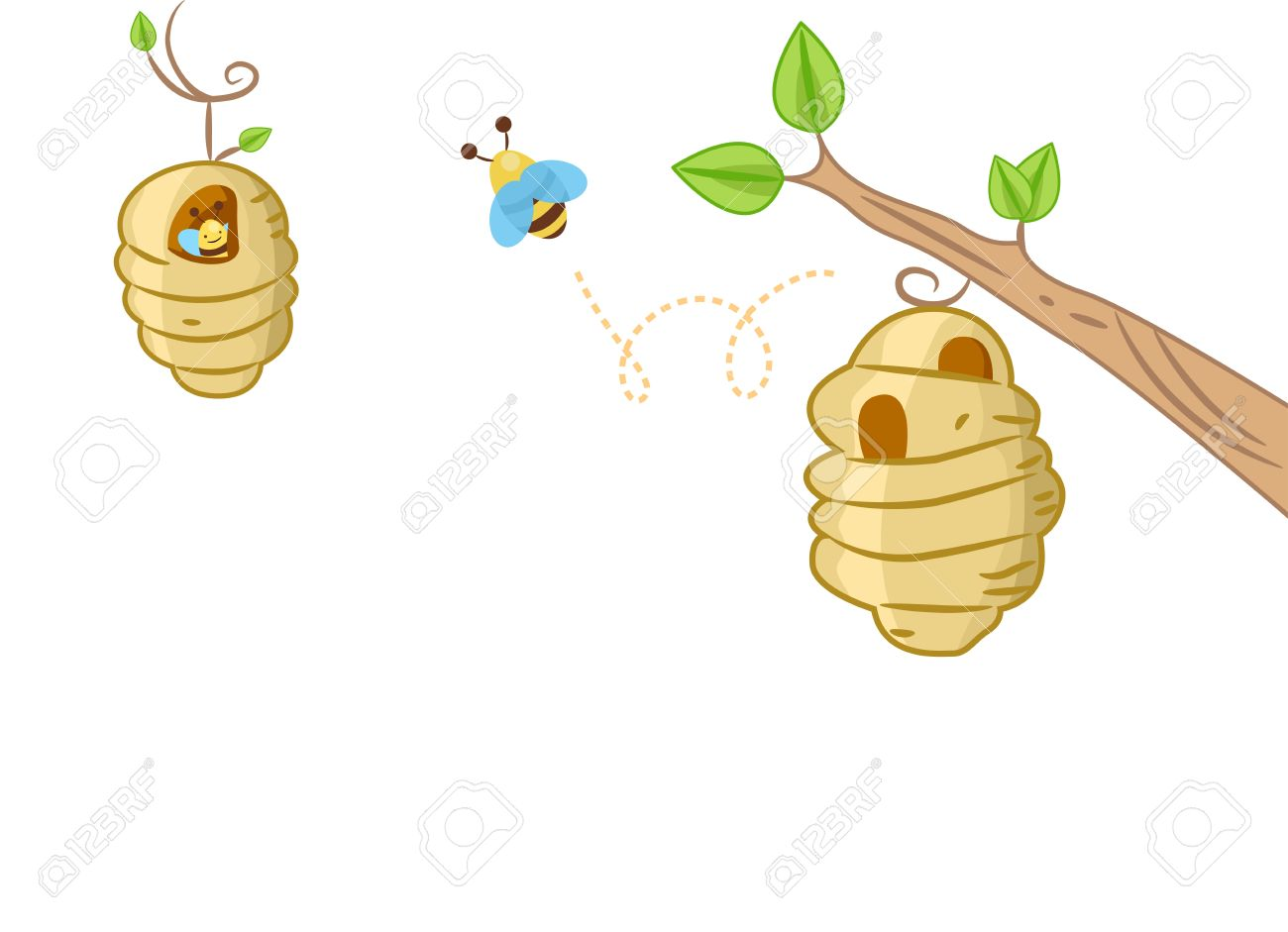 background illustration featuring a bee coming out of a bee hive