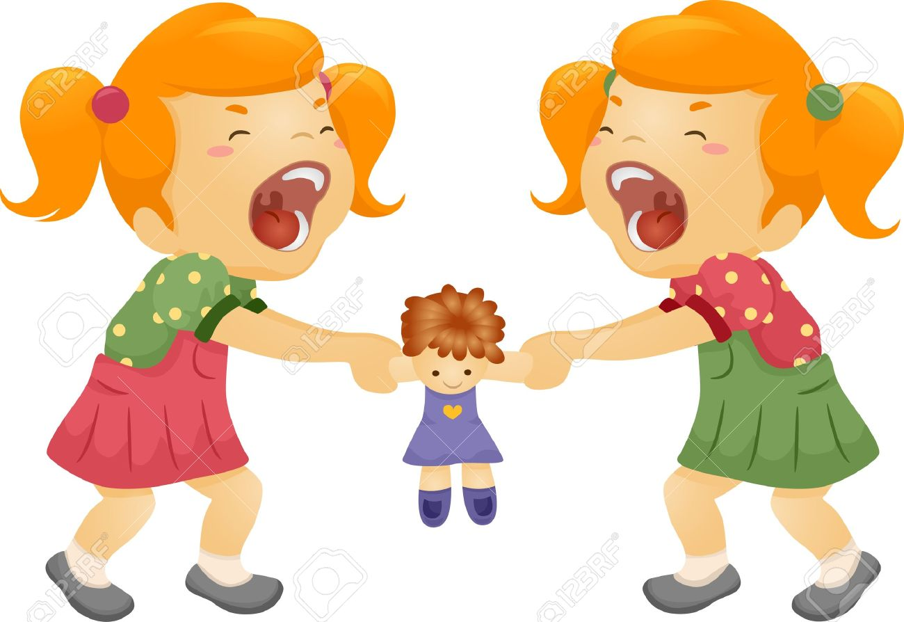 illustration of twin sisters fighting over a doll stock photo rh 123rf com Two Sisters Clip Art Heart Clip Art