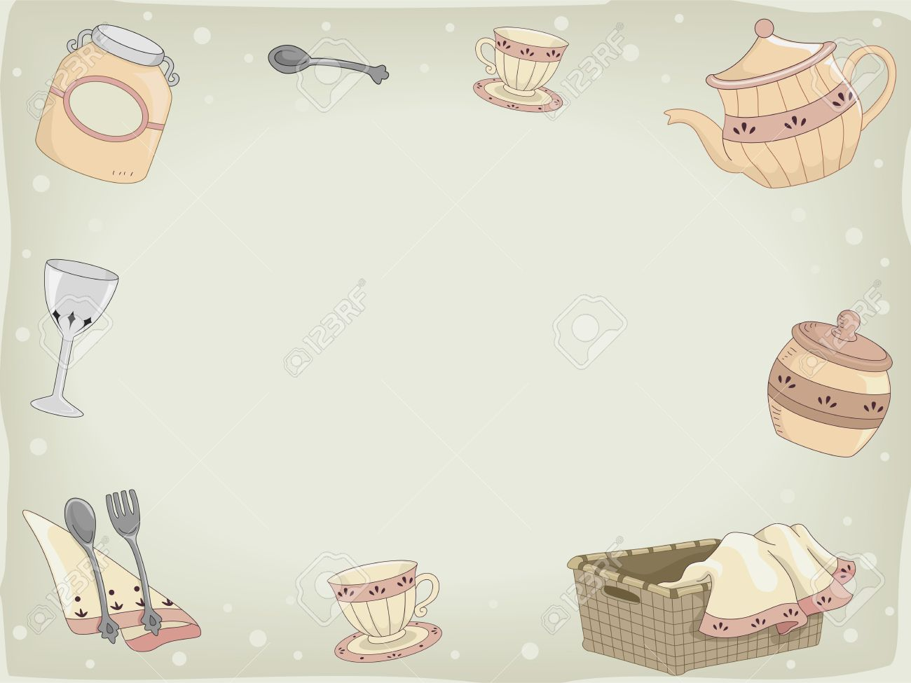 Kitchen Utensils Background background illustration of country kitchen utensils stock photo