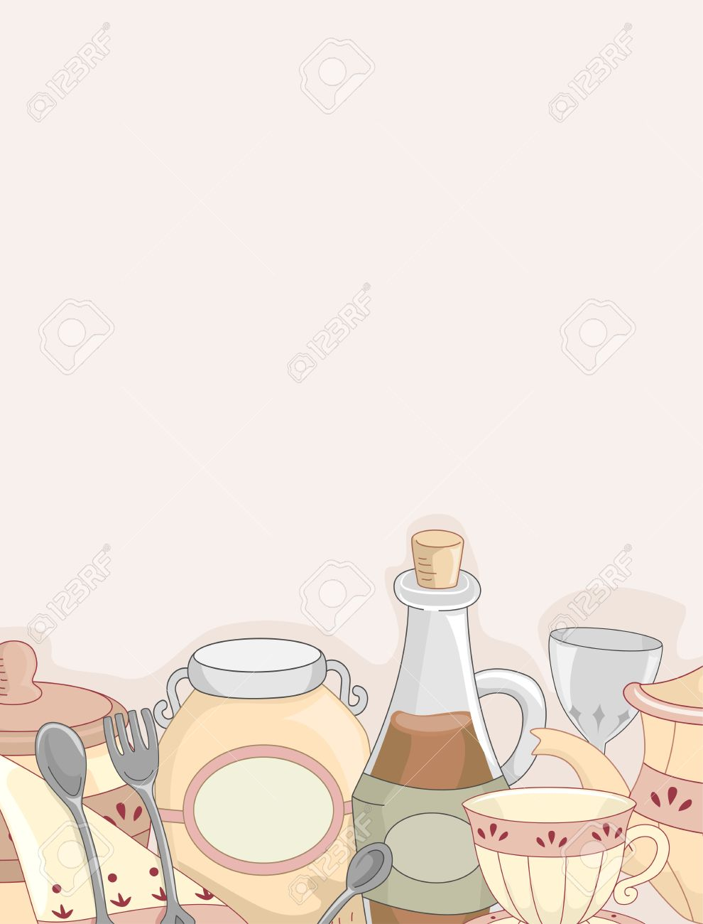 Kitchen Utensils Background background illustration of a country kitchen utensils stock photo