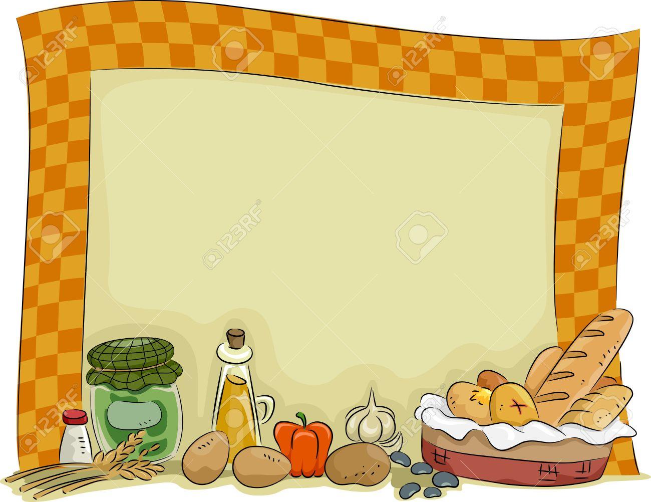 Background Ilustración De Una Cocina Del País Con Condimentos Y ...