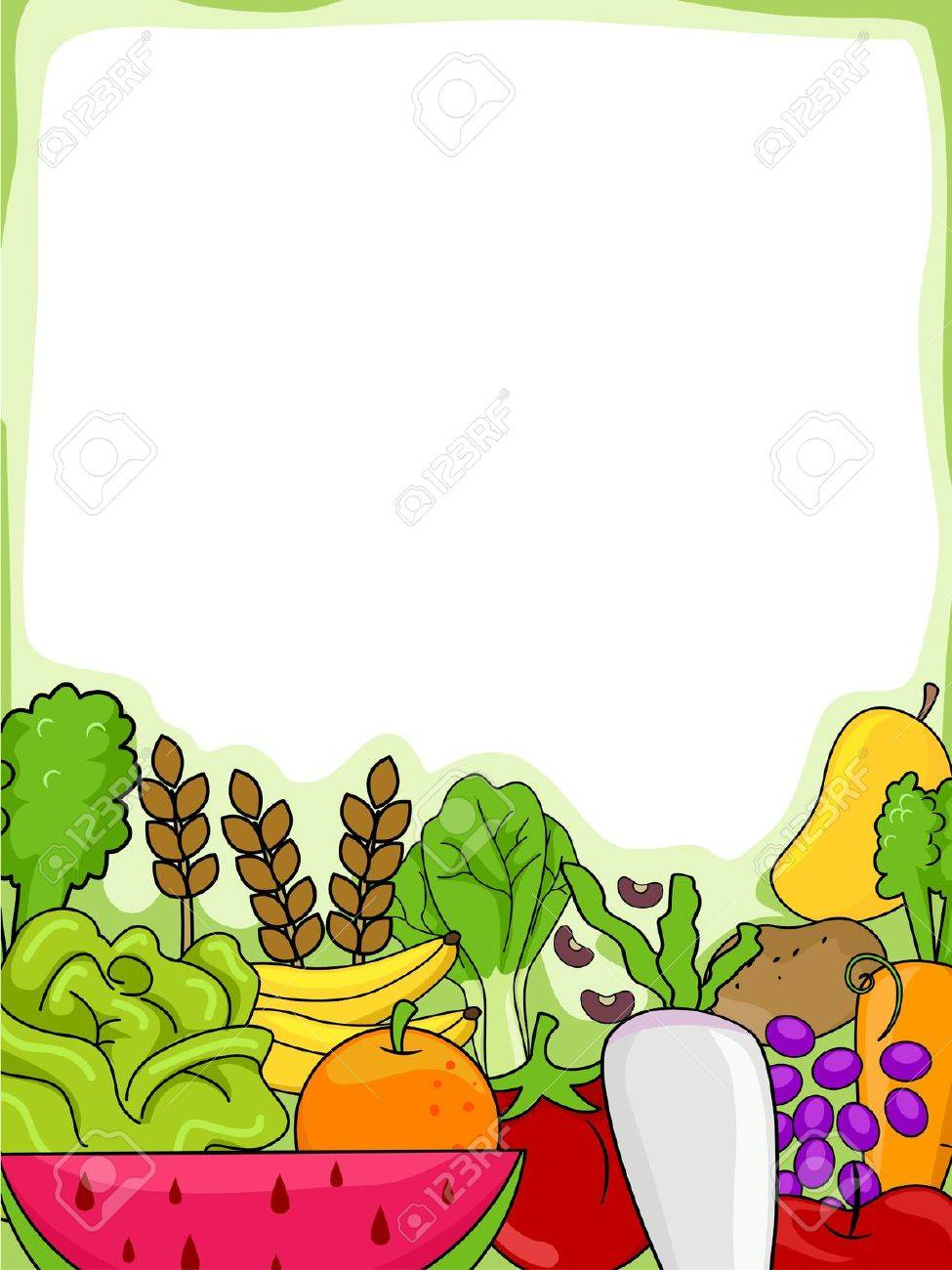 background illustration of fruits and vegetables stock photo