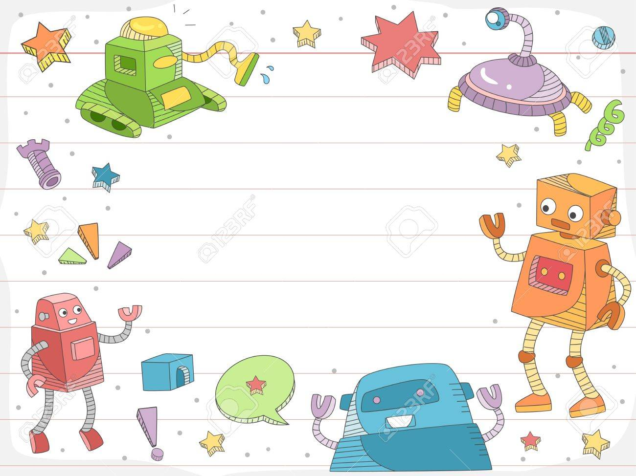 Background Illustration Of A Cartoon Doodle Design On Ruled Paper Stock Photo Picture And Royalty Free Image Image 16553030